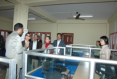 Shri Kalikho Pul, Hon'ble Minister (Tax & Excise) in discussion with officers inside the Kar Bhawan after inaugurating the same